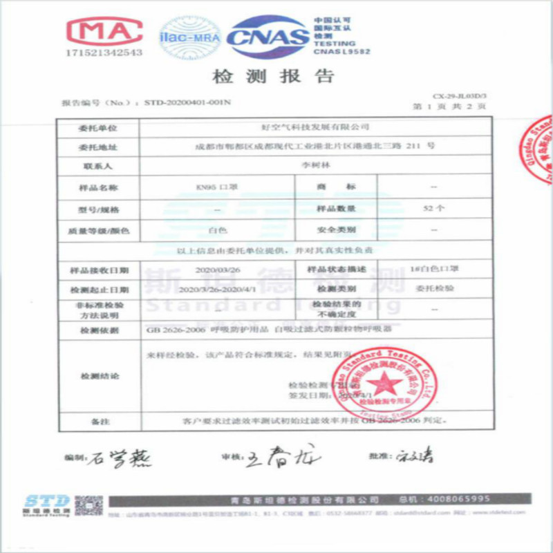 Protective Face Mask KN 95 with bsi Certificate